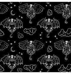 Cartoon pattern with monsters angel and yo vector image