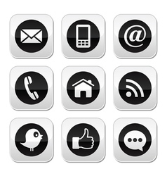 Contact web blog and social media buttons vector image