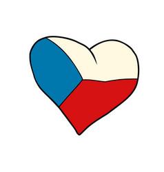 czech republic heart patriotic symbol vector image vector image