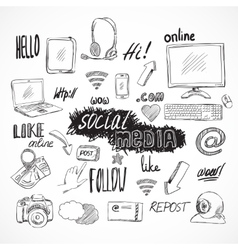 Doodle social media icons set vector image vector image
