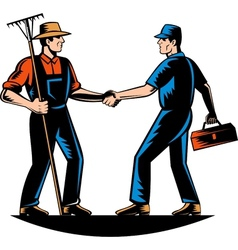Farmer and tradesman mechanic handshake vector image vector image