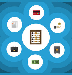 Flat icon finance set of strongbox hand with coin vector