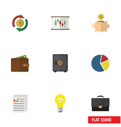 Flat icon gain set of diagram graph bubl and vector