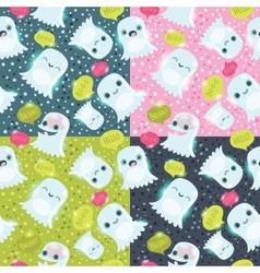 Halloween ghosts seamless pattern vector image