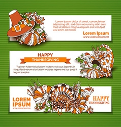 Happy thanksgiving horizontal banner templates vector