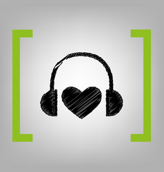 Headphones with heart black scribble icon vector