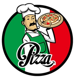 italian chef with pizza vector image vector image