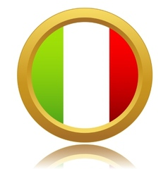 Italy flag on button vector image
