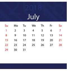 July 2018 calendar popular blue premium for vector