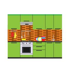 Kitchen interior room home furniture flat vector