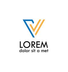 line letter v logo vector image