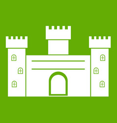 medieval fortification icon green vector image vector image