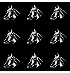 Pattern monochrome black and white horse head hand vector
