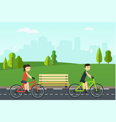 People on bikes ride in the city park vector