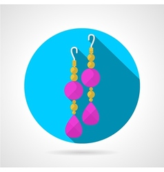 Round flat icon for earrings vector image
