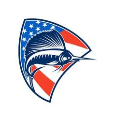 Sailfish fish jumping american flag shield retro vector