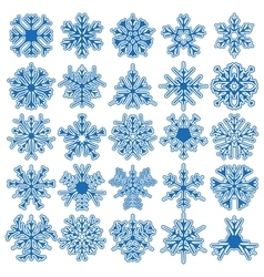 Set of 25 snowflakes vector image vector image