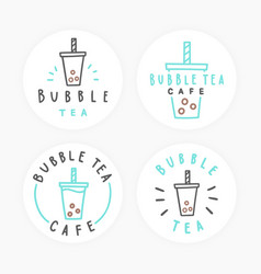 set of bubble tea badges vector image