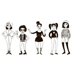 Set of doodle women in retro style vector