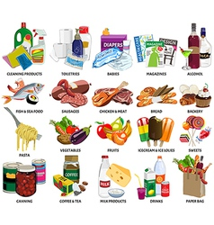 Set of sixty four supermarket icons include vector