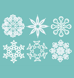 set of snowflakes for christmas background vector image vector image