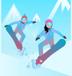 snowboarders man and woman vector image