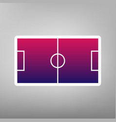 Soccer field purple gradient icon on vector