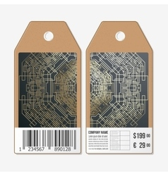 Tags design on both sides cardboard sale labels vector