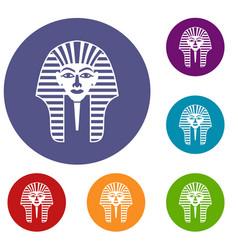 tutankhamen mask icons set vector image vector image
