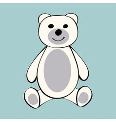 White Bear funny cartoon animal toy vector image vector image