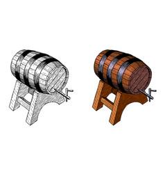Wooden beer barrelt hand ink drawing vector