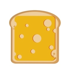 Bread slice with cheese icon vector