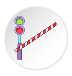 Railroad crossing icon cartoon style vector