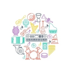 Music poster with musical instruments line vector