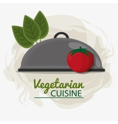 Tomato leaves vegetarian cuisine tray service vector