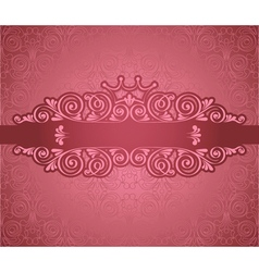 Vintage pink frame on damask background vector