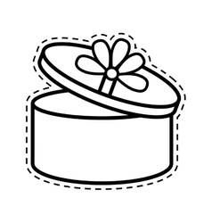 Round gift box ribbon festive open cut line vector