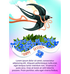 Easter greeting card with swallow bird and flower vector