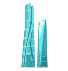 Skyscraper two glass buildings isolated on white vector