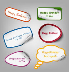 Collection of colorful birthday stickers template vector