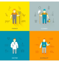 Profession characters 4x4 icons composition flat vector