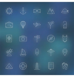 Summer travel line icons set vector