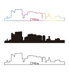 Chiba skyline linear style with rainbow vector