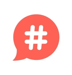 White hashtag icon in red speech bubble vector