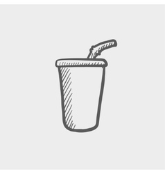 Disposable cup with lid and straw sketch icon vector