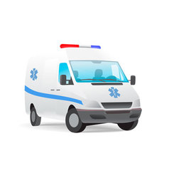 Ambulance van with caduceus sign vector