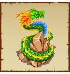 Green dragon wraps around the stone vector image