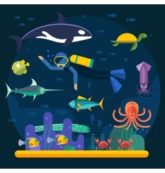 Scuba diving with fishes and coral reef vector image
