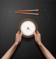 Hands holding bowl of white rice vector