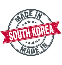 Made in south korea red round vintage stamp vector